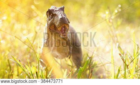 Tyrannosaurus Rex Dinosaurs Toy On Nature Background. Closeup Dinosaur And Monster Model .