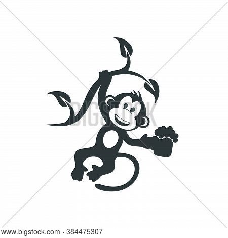 Monkey Icon Isolated On White Background From Animal And Nature Collection. Monkey Icon Trendy And M