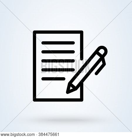 Document Or Contract Signing Icon Or Logo Line Art Style. Outline Agreement And Signature Concept. B
