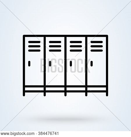 School Lockers Or Shop Lockers Icon Or Logo Line Art Style. Outline  Locker Concept. There Are Sever