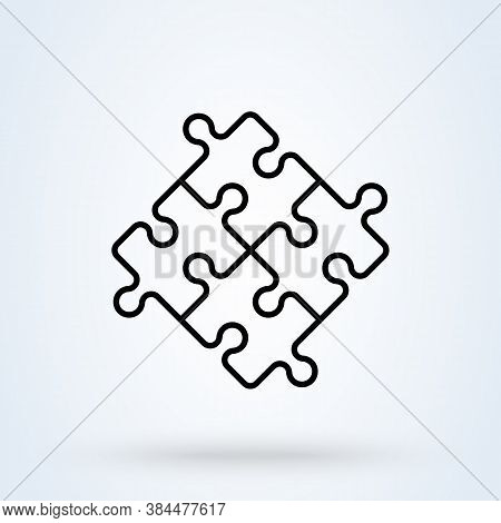 Puzzle Pieces And Problem Solving Icon Or Logo Line Art Style. Outline Puzzle Game Fully Editable Co