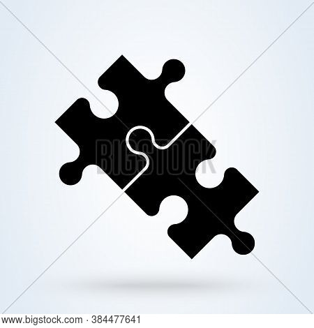 Puzzle Pieces And Problem Solving Icon Or Logo. Puzzle Game Fully Editable Concept. Puzzles And Solu