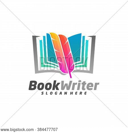 Book Writer Logo Template Design Vector, Feather Book Logo Design Concepts, Emblem, Design Concept,
