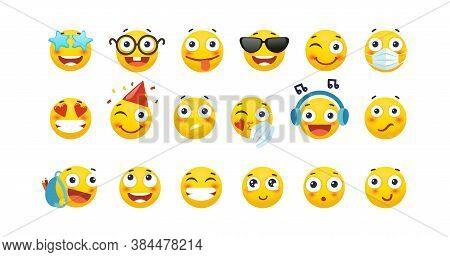 Set Of Cute Emoticons. Yellow Round Emoji With Different Emotions, Love, Happiness, Sadness, Holiday