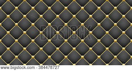 Shiny Gold Round And Black Square Rhombus Geometric Seamless Pattern Background, Glitter Golden Butt