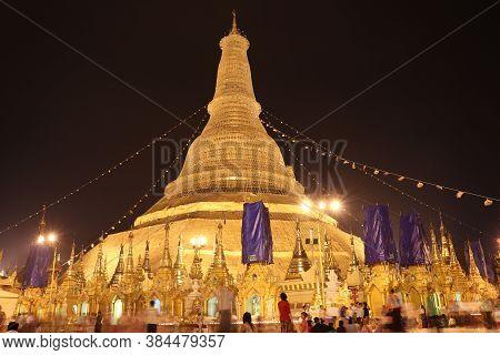 Yangon, Myanmar Feb 21, 2019: Night Shot Of The Shwedagon Pagoda, Also Known As The Golden Pagoda, I