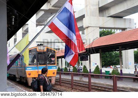 Don Muang, Bangkok, Thailand - July 20, 2019 : Thai Flag At Don Muang Train Station With Background