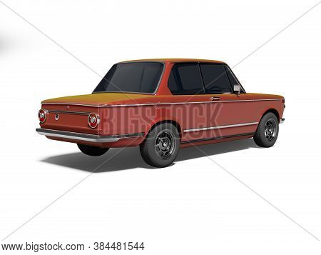 3d Rendering Red Classic Car With Tinted Windows Rear View On White Background With Shadow