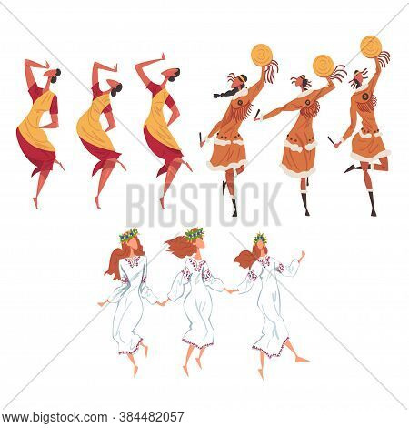 Ritual Dance Set, People Of Different Nationalities Dancing Folk Dance Wearing Traditional Costumes