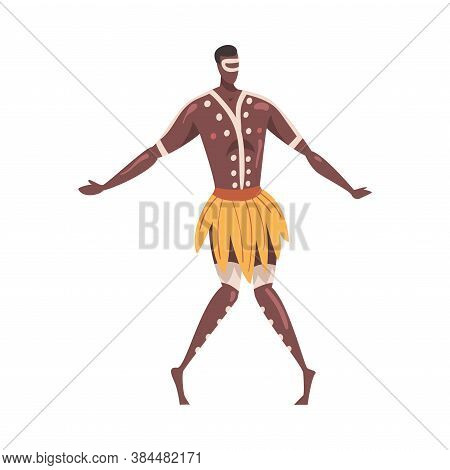 African Ritual Dance, Man Dancing Folk Dance Wearing Loincloth Cartoon Style Vector Illustration