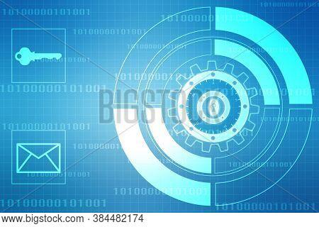 Closed Padlock On Digital Screen, Cyber Security Concept Background, Security Concept Background. Da