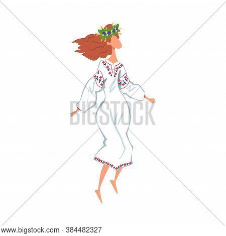 Pagan Ritual Dance, Slavic Girl Performing Folk Dance Wearing Traditional Dress And Wreath Of Flower