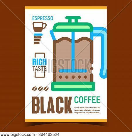 Black Coffee Creative Advertising Poster Vector. Coffee In Glass Pot, Rich Taste Espresso On Promoti