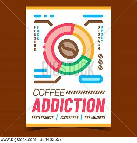 Coffee Addiction Creative Advertise Banner Vector. Face Flushed, Upset Stomach And Restlessness, Exc