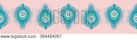 Peacock Feather Banner Design In Teal And Pink. Cute Vector Seamless Repeat Exotic Bird Feathers Bor