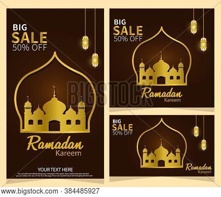 Ramadan Kareem Islamic Design Happy And Blessed Ramazan Sale Advertisement Vector Illustration