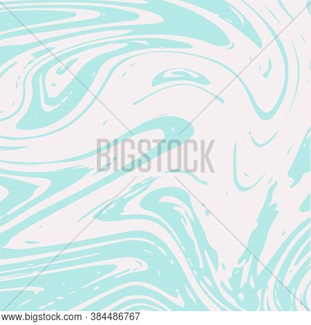 Marble Texture Vector Turquoise Watercolor Background. Fluid Paint Suminagashi Modern Pattern For Co