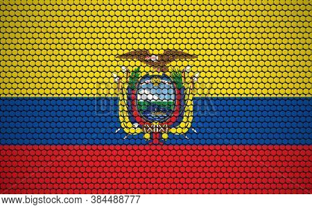 Abstract Flag Of Ecuador Made Of Circles. Ecuadorian Flag Designed With Colored Dots Giving It A Mod