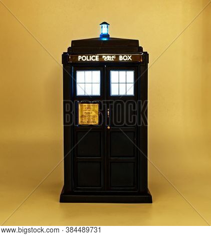 Illuminated Police Call Box. Tardis From Doctor Who