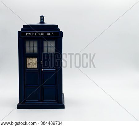 Police Call Box With Board To Write. Tardis From Doctor Who.