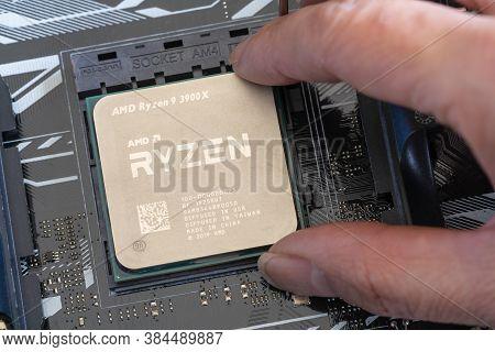 Melbourne, Australia - Jul 29, 2019: Close-up Of Installing Third Generation Ryzen Processor On Main