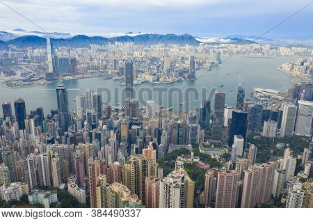 Aerial View Of Victoria Harbour In Hong Kong
