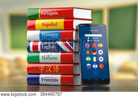 Mobile dictionary, translator  and e-learning.concept . Learning languages online.  Smartphone and books with language courses. 3d illustration