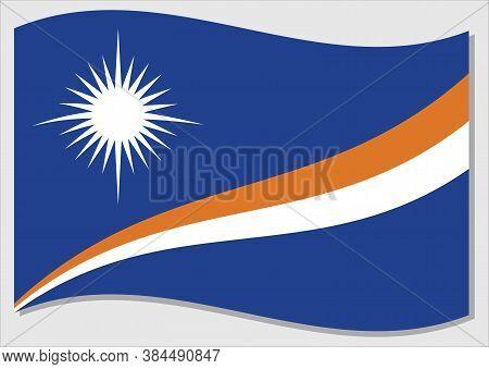 Waving Flag Of Marshall Islands Vector Graphic. Waving Marshallese Flag Illustration. Marshall Islan