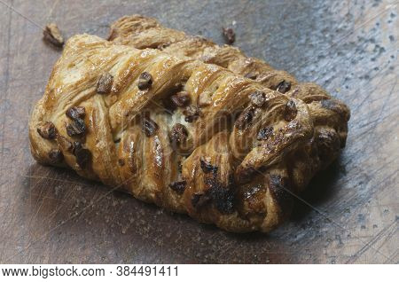 Pecan Plait (turnover Bun With Maple Syrup) Close Up Shot