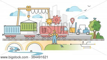 Rail Logistics As Train Cargo Transport And Shipment Service Outline Concept. Container Export With