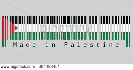 Barcode Set The Color Of Palestine Flag, A Horizontal Tricolor Of Black, White, And Green; With A Re