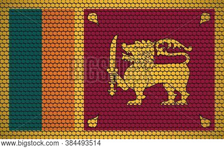 Abstract Flag Of Sri Lanka Made Of Circles. Sri Lankan Flag Designed With Colored Dots Giving It A M