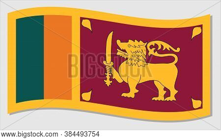 Real Size Waving Flag Of Sri Lanka Vector. Waving Sri Lankan Flag Illustration.