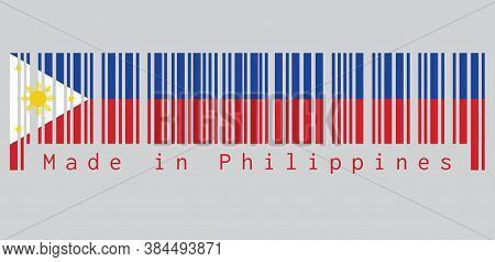 Barcode Set The Color Of Philippines Flag, A Horizontal Blue And Red; White Equilateral Triangle Bas