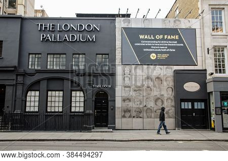 London, Uk - April 24, 2020: Stage Door And Wall Of Fame At The Famous Palladium Theatre In London.