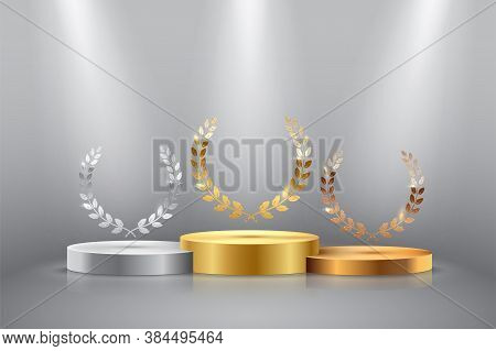 Winner Background With Golden, Silver And Bronze Laurel Wreaths With Ribbons On Round Pedestal Isola