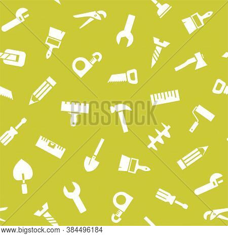 Hand Tools, Construction, Seamless Pattern, Yellow-green. White Icons On A Light Green Field. Single