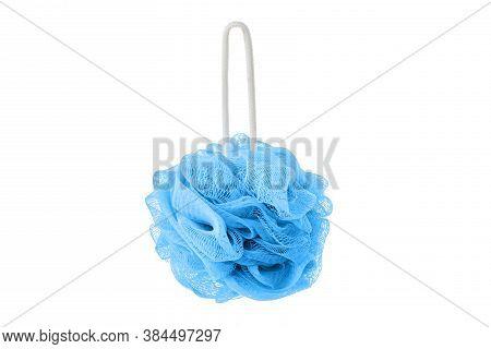 Blue Soft Bath Puff Or Shower Sponge Isolated On White Background