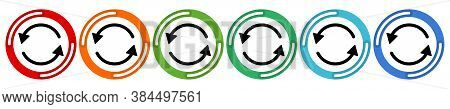 Arrows Cyclic Rotation Icons, Two Arrows Recycling Recurrence, Renewal Line Symbols On White Backgro