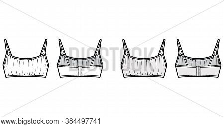 Cropped Gathered At The Front Bra Top Technical Fashion Illustration With Back Hook Fastenings, Shou