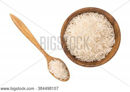 Top View Of Jasmine Rice In Wooden Bowl And In Wooden Spoon On White Background With Clipping Path.