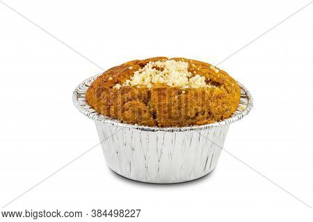 Muffin With Parmesan Cheese In Aluminum Foil Cup On White Background With Clipping Path.