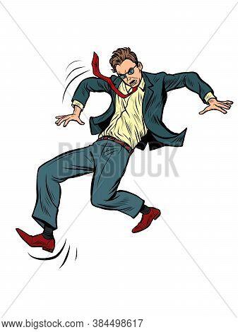 The Man Falls. Slippery. Businessman With A Problem. Pop Art Retro Vector Illustration Vitch Vintage