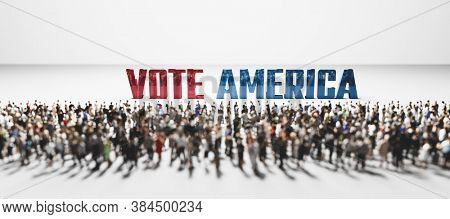 Vote America slogan in front of large group of people. Political incentive conceptual 3D illustration