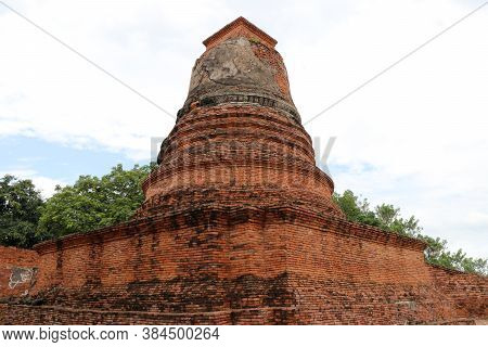 Small Stupa Beside The Main Pagoda In The Ruins Of Ancient Remains At Wat Worachet Temple, It Built