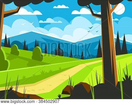 Path Along The Forest Edge. Natural Landscape. Forest On A Mountain Background