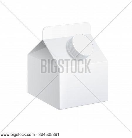 Realistic Carton Of Milk 260ml. Carton Package. Vector Illustration.