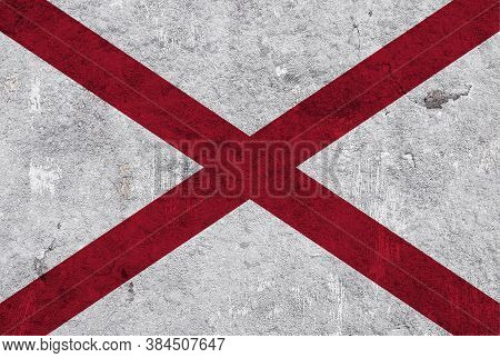 Detailed And Colorful Image Of Flag Of Alabama On Weathered Concrete