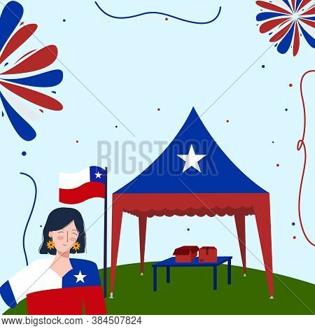 Viva Chile Concept Women Wear Apparel Chile Flag Background Red Blue Tent On Ground With Flat Cartoo
