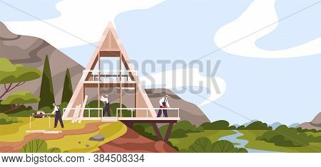 Team Of Male Constructors Building Modern Wooden House Near River Vector Flat Illustration. Group Of